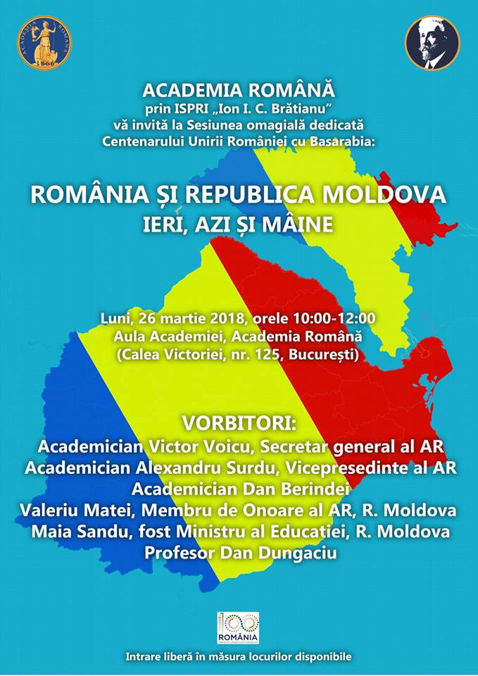 Sesiunea omagială dedicată Centenarului Unirii României cu Basarabia